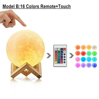 Rechargeable Moon Lamp Night Light Kids Dimmable LED Color Change 3D Dimmable