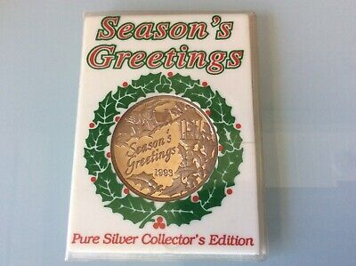 Seasons Greeting 1 troy oz .999 Fine Pure Silver 1993 Round Bullion Proof COIN *