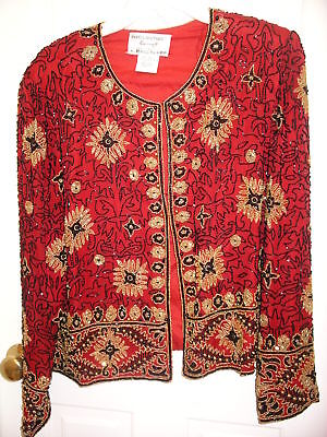 Red Silk Papel Boutique Evening Gold Blk Beaded Jacket $495