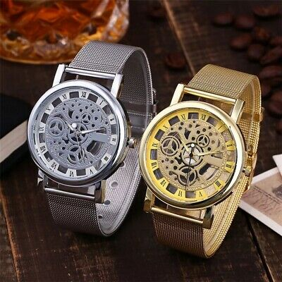 Luxury Mens Stainless Steel Tone Skeleton Automatic Mechanical Wrist Watch 3colo