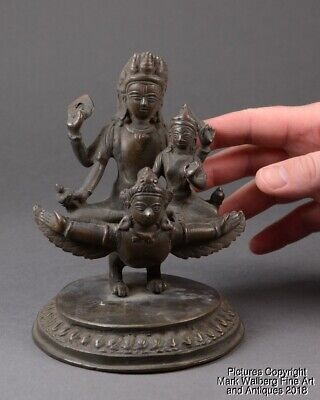 Indian Hindu Bronze Vishnu & Lakshmi Riding Winged Divinity Garuda, 19th C.