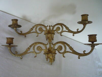 Antique French Pinet Gilt Double Candlestick Candle Holder Wall Sconce Piano (2)