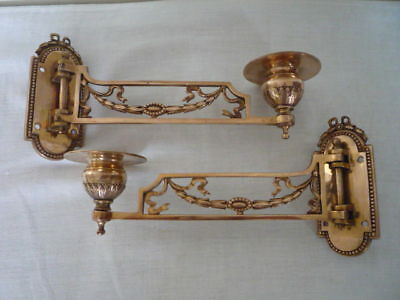 Regency Style Brass Candlestick Holders Wall Sconce Piano Reclaimed Interiors