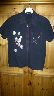 Dead Threads PunkGothRock Skulls Black Short Sleeved Shirt Medium