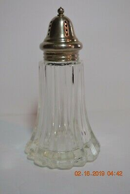 EAPG Sugar Cheese Clear Glass  Ribbed Shaker Muffineer