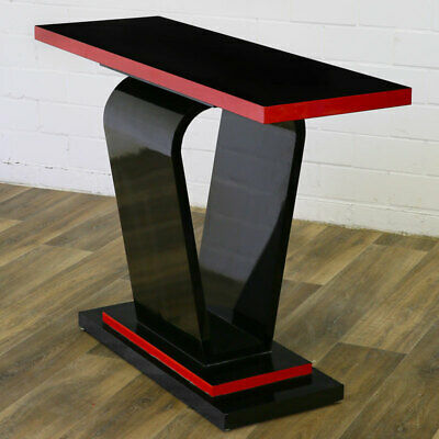 ART DECO CONSOLE TABLE, red and black EDITION SCHWARZLACK KONSOLE, KONSOLENTISCH