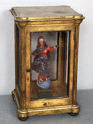 HOLZFIGUR ANTIK BAROCK ? MARIA IMMACULATA IN VITRINE 32cm old wood carving Mary