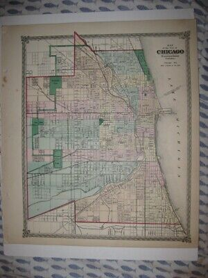 Gorgeous Rare Antique 1874 Chicago Illinois Handcolored Map Railroad Detailed Nr