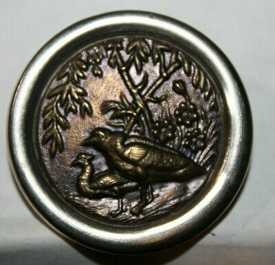 Antique Copper Brass Metal Picture Button Pair of Birds