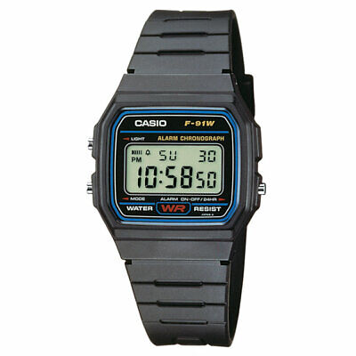 Montre Casio Homme Affichage Digital Vintage Bracelet Noir Collection F-91W-1DG