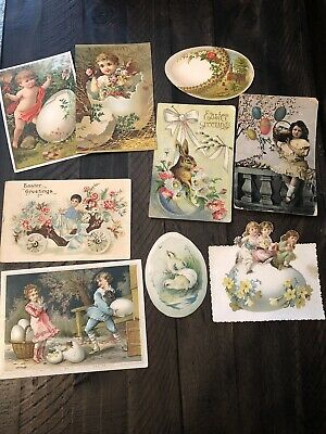Large Lot Of Antique Victorian Easter Postcards Trade Cards And Die Cuts