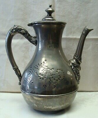 Antique Victorian Engraved Meriden Co. Silverplate Coffee Pot, Teapot