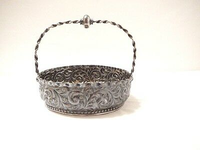 Vintage 1890's Victorian Basket Repousse Handled Silver Plate Bowl