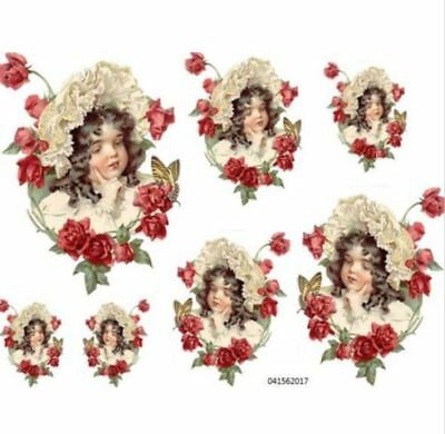 Vintage Image Victorian Red Yellow Roses Shabby Waterslide Decals FL462