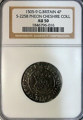 Henry VII 1505-1509 AD Silver Fourpence Groat Pheon MM London S-2258 NGC AU50
