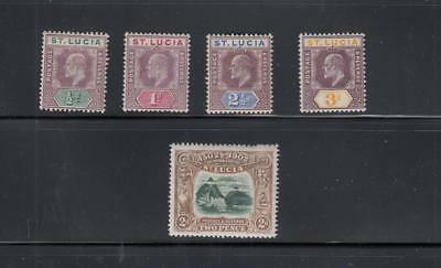 St. Lucia # 43-47,49 Vf-Mh 1902-03 King Edward Vii /The Pitons Cat Value $73