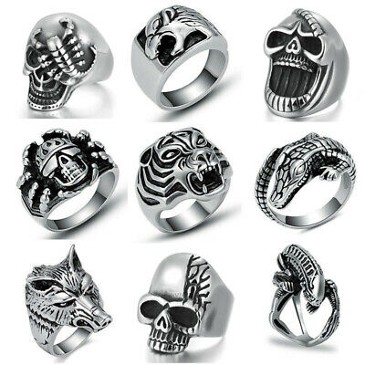 316L Stainless Steel Silver Men's Finger Rings Fashion Punk Biker Male Jewelry