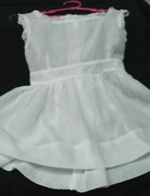 1930s 40s VINTAGE WHITE DOTTED SWISS PINAFORE STYLE LITTLE GIRL'S DRESS