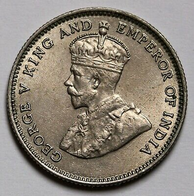 1935 Hong Kong 10 Cents Coin George V KM# 19 aUNC
