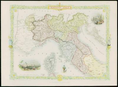 """1850 RARE Original Antique Map of """"NORTHERN ITALY"""" by TALLIS FULL COLOUR (62)"""
