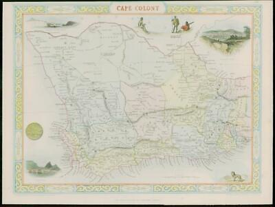 "1850 - Original Antique Map ""CAPE COLONY"" South Africa by TALLIS COLOUR (61)"