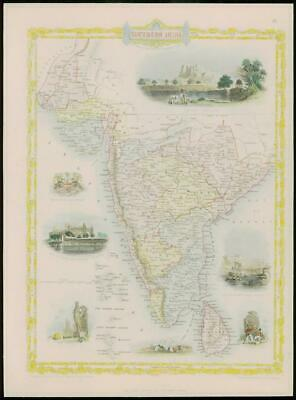 """1850 RARE Original Antique Map of """"SOUTHERN INDIA"""" by TALLIS FULL COLOUR (60)"""