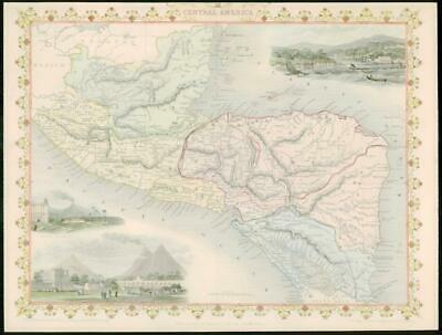 "1850 Antique Map ""CENTRAL AMERICA"" Honduras Guatemala Belize TALLIS COLOUR (43)"
