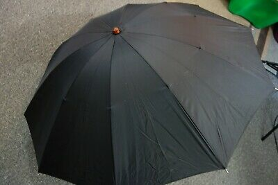 "1950's Big Black Umbrella w/Brown Lucite Handle & Cover  by HJ- 32"" Long- SALE"