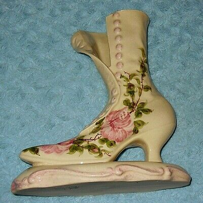 Vintage Cash Family TN Victorian Button Large Boot Planter - Chic Pink Roses VGC
