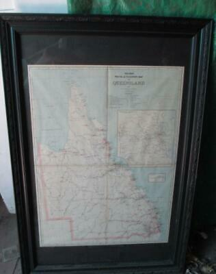 "1888,pic. Atlas Large Framed Antique Map--""qld.railway,post & Telegraph Lines."""