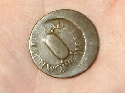 18thC Adelphi Cottonworks Token Counter Marked 1/2d Coin RARE Scotland #D107