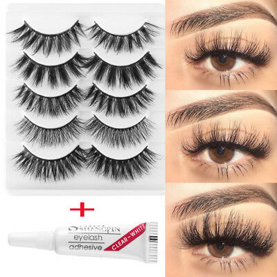 2019 SKONHED 5Pairs Mixed Styles 3D Soft Mink Hair False Eyelashes with glue