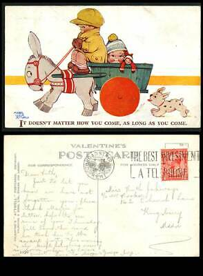 MABEL LUCIE ATTWELL 1932 Old Postcard Doesn't Matter How U come, Donkey Dog 2190