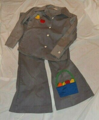 Vintage 1970s Andy Lou Originals Girls Pants and Top Set Corduroy with Appliques