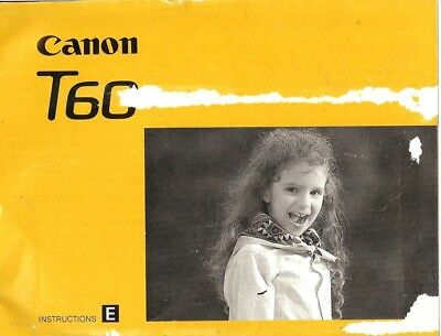 1990s CANON T60 SLR 35mm CAMERA OWNERS INSTRUCTION MANUAL -CANON