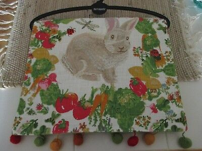 """NWT Pier 1 Imports 72"""" Easter Spring Floral Bunny Rabbit Table Runner w/Poms!"""