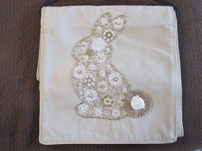"""NWT Pier 1 Imports 72"""" Easter Spring Beaded Gold/Tan Bunny Rabbit Table Runner"""