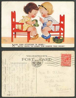 MABEL LUCIE ATTWELL 1932 Old Postcard This Economy is Here - Darn the Darns 2034