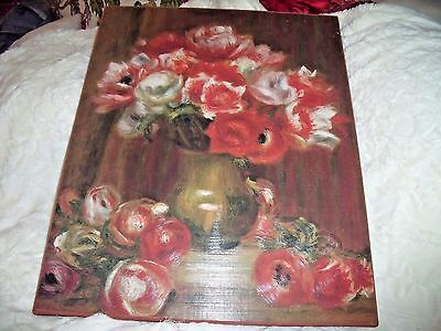 "RED POPPY ROSES Floral Oil PAINTING Flowers 22"" X 17"" SIGNED RUDY BROWN ORIGINAL"