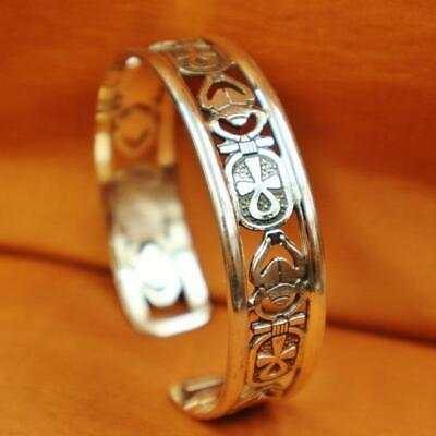 Amazing Egyptian Solid Sterling Silver Bracelet Cross ANKH & Scarab _Bangle/Cuff