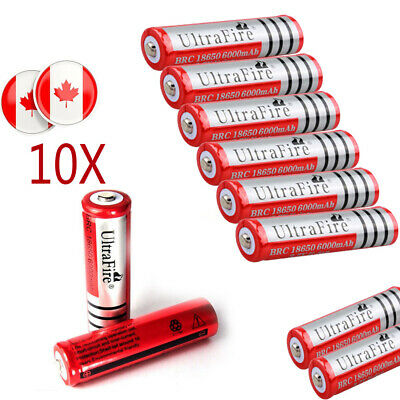 10* Ultrafire 18650 Battery 3.7V 6000mAh Li-ion Rechargeable Cell For Head Torch