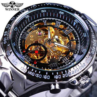 Luxury Mens Automatic Mechanical Watch Skeleton stainless steel Wrist Watch AU