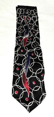 Vintage Format Black Swirled with White Circles Red Dots Mens Silk Necktie Japan