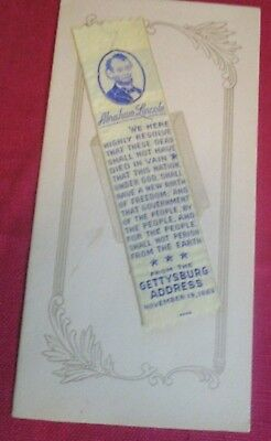Vintage Woven Bookmark Greeting Card Abraham Lincoln From The Gettysburg Address