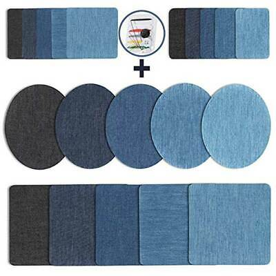 20Pcs Assorted Iron On Denim Fabric Mending Patches Repair Kit for Jeans Jacket