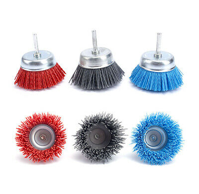3Pcs 75mm Cup-shaped Abrasive Nylon Wire Polishing Cleaning Brush 6MM Shank Set