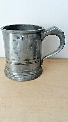 Antique Vr39 1/2 Pint Pewter Tankard