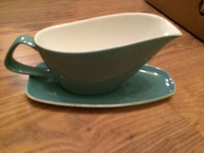 Poole Pottery Twin Tone Large Sauce Boat / Gravy Boat  Green & White