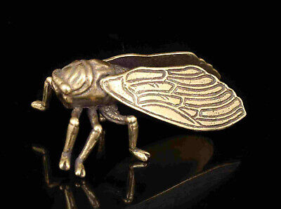China Collection Hand-Carved Cuprum Verisimilitude Cicada Statue Pendant Gifts