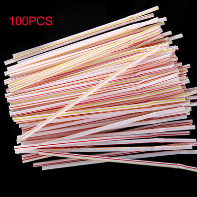 100PCS Plastic Curved Colorful Drinking Straws Bend Extra Long Beverage Straw